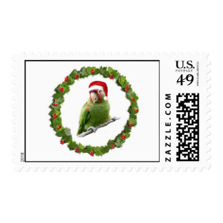 Red Masked Parakeet  Christmas Wreath Stamps