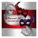 Red Masks Sweet 16 Masquerade Party Announcement