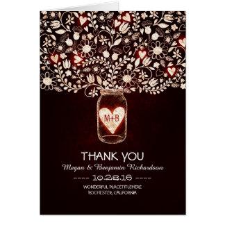 Red mason jar floral wedding thank you card
