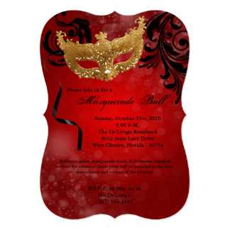 Red Masquerade Ball Mask Costume Halloween Part Card