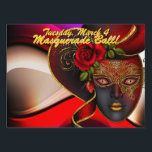 "Red Masquerade Ball! Party Sign<br><div class=""desc"">Show people where the party is! Masquerade Ball! Mardi gras!  Party yard sign</div>"