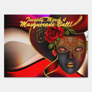 Red Masquerade Ball! Party Sign