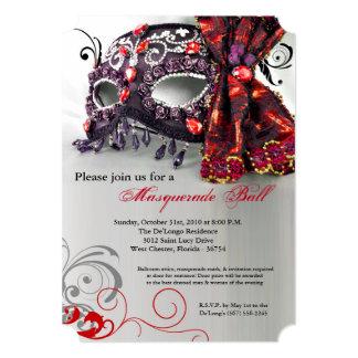 Red Masquerade Mask Ball Costume Halloween 5x7 Paper Invitation Card