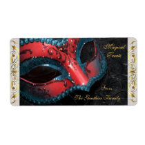 Red Masquerade Mask  Halloween Baking Label Shipping Label