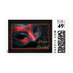 Red Masquerade Mask Halloween Party Postage