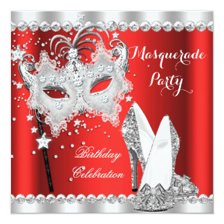 Red Masquerade Mask Hi Heels Birthday Party Personalized Invitation