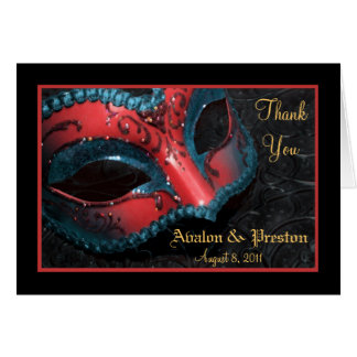 Red Masquerade Mask Wedding Thank You Note Card