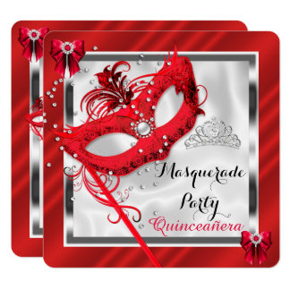 Red Masquerade Quinceanera 15th Birthday Party Card