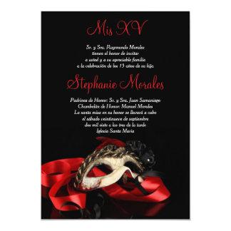 Red Masquerade Quinceanera Invitation