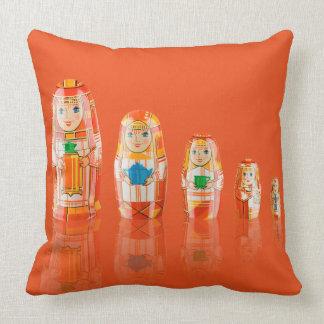 Red Matryoshka Russian Dolls Throw Pillow