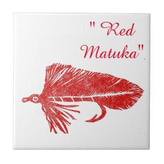 """Red Matuka"" streamer trout fly tile. Ceramic Tile"