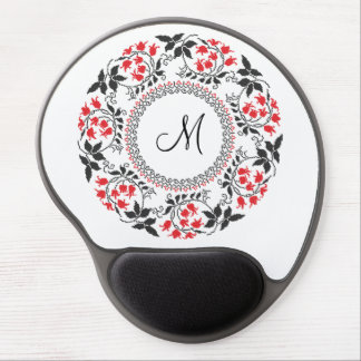 Red May lily ring Personalized Monogram Initial Gel Mouse Pad