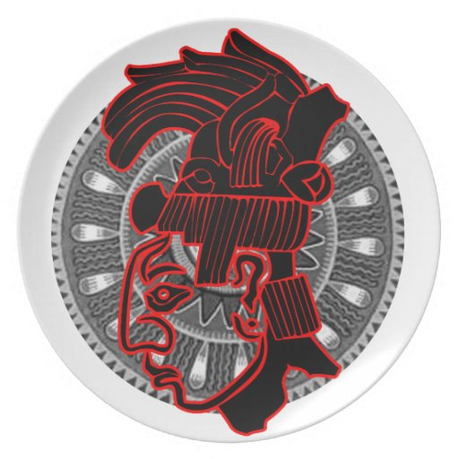 RED MAYAN HEAD CIRCLE PRODUCTS PARTY PLATE