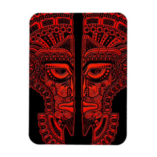Red Mayan Twins Mask Illusion on Black Magnet