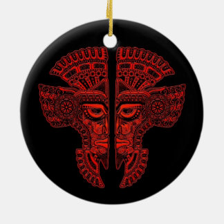 Red Mayan Twins Mask Illusion on Black Double-Sided Ceramic Round Christmas Ornament