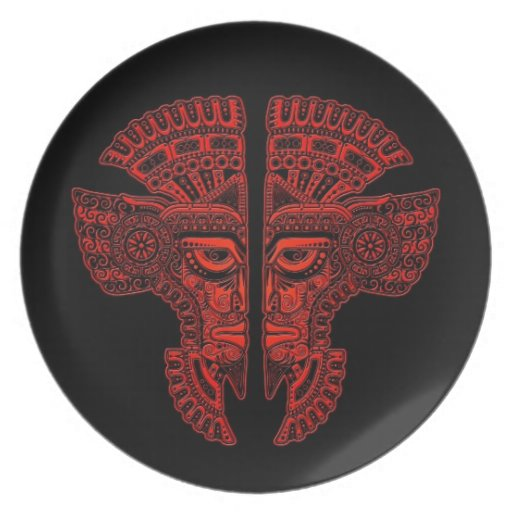 Red Mayan Twins Mask Illusion on Black Dinner Plates