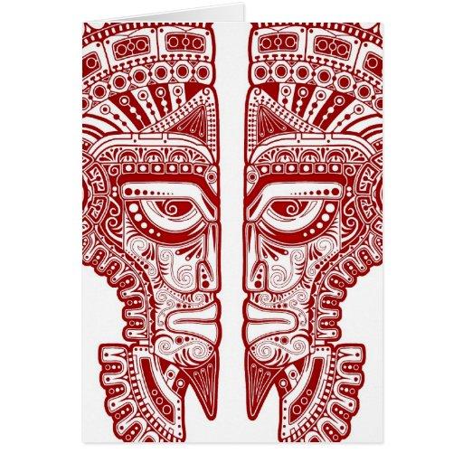 Red Mayan Twins Mask Illusion on White Greeting Card