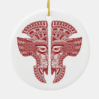 Red Mayan Twins Mask Illusion on White Double-Sided Ceramic Round Christmas Ornament