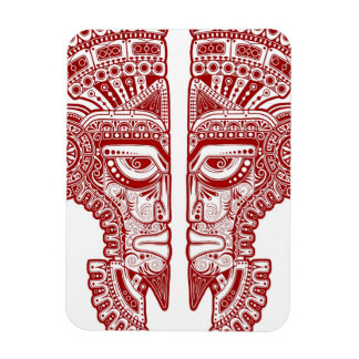Red Mayan Twins Mask Illusion on White Vinyl Magnet