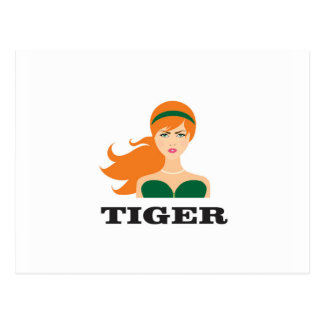 red mean tiger postcard