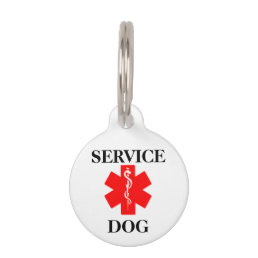 Red Medical Alert Service Dog Personalized ID Tag