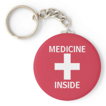 Red Medicine Inside First Aid Symbol Medication Keychain