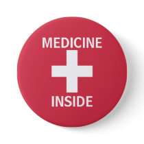 Red Medicine Inside First Aid Symbol Medication Pinback Button