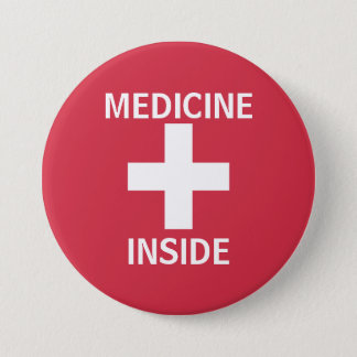 Red Medicine Inside First Aid Symbol Medication Pinback Button