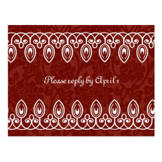 Red Medieval Brocade rsvp Postcard