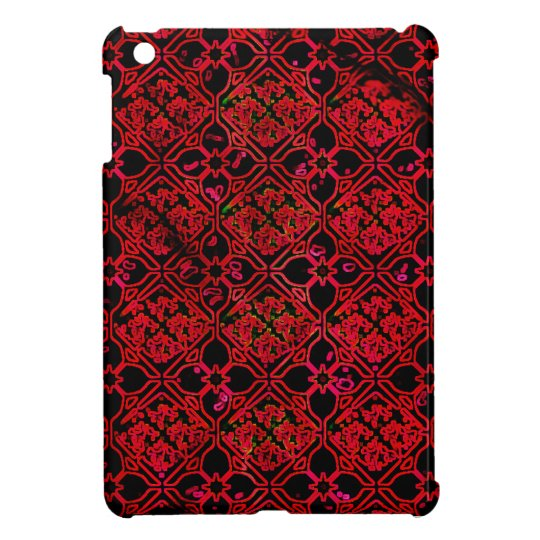 Red Medieval Floral Grunge Design Case For The iPad Mini