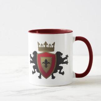 Red Medieval Lion Heraldry Glass Mug