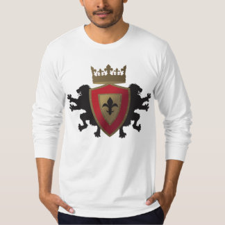 Red Medieval Lion Heraldry Mens Fitted Long Sleeve T-Shirt