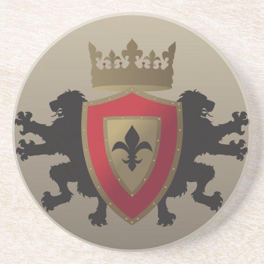 Red Medieval Lion Heraldry Sandstone Coaster