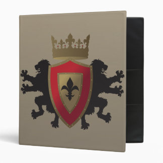Red Medieval Lion Heraldry School Binder