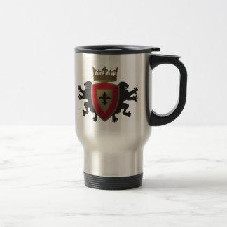 Red Medieval Lion Heraldry Stainless Travel Mug