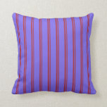 [ Thumbnail: Red & Medium Slate Blue Colored Stripes Pillow ]