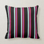 [ Thumbnail: Red, Medium Slate Blue, Dark Red, Turquoise, Black Throw Pillow ]