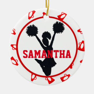 Red Megaphones and Cheerleader Personalized Ornament
