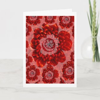 Red Megical Flowers - Happy Birthday Text inside Greeting Card