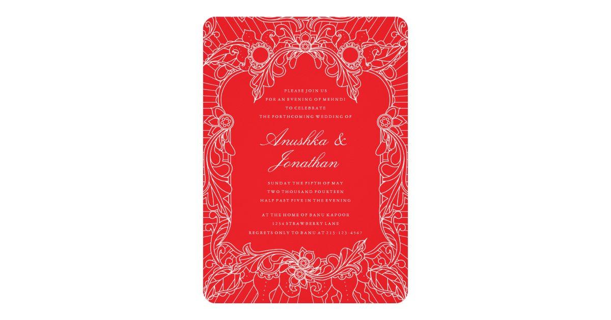 Mehndi Event Invitation : Red mehndi party invitation zazzle