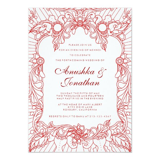 Red Mehndi Party | Mehndi Invitation | Zazzle.com