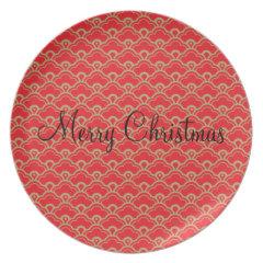 Red Melamine Christmas Plates