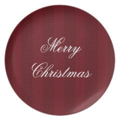 Red Melamine Christmas Plates Cranberry Striped
