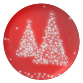 Red Melamine Christmas Plates Lighted Trees