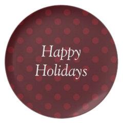 Red Melamine Christmas Plates Polka Dots