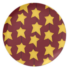 Red Melamine Christmas Plates Yellow Stars