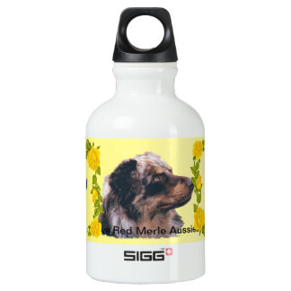 Red Merle Aussie and Yellow Roses Aluminum Water Bottle