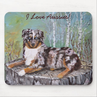 Red Merle Aussie - Beautiful Flower Mouse Pad