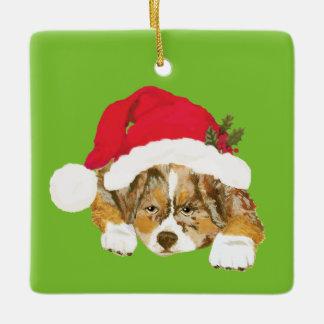 Red Merle Aussie Christmas Puppy w/Santa Hat Ceramic Ornament