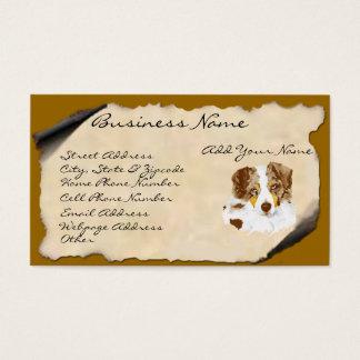 Red Merle Australian Shepherd on Parchment Business Card